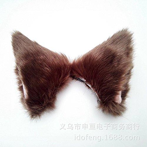 Orecchiette Plush Cat Ears Maid Headdress Called Wolf Ears Hairpin Hair Pins Headband Accessories Brown Fox