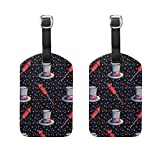 Vantaso Luggage Tags Set PU Leather Fireworks Stars American Flag Hat for Travel Suitcase