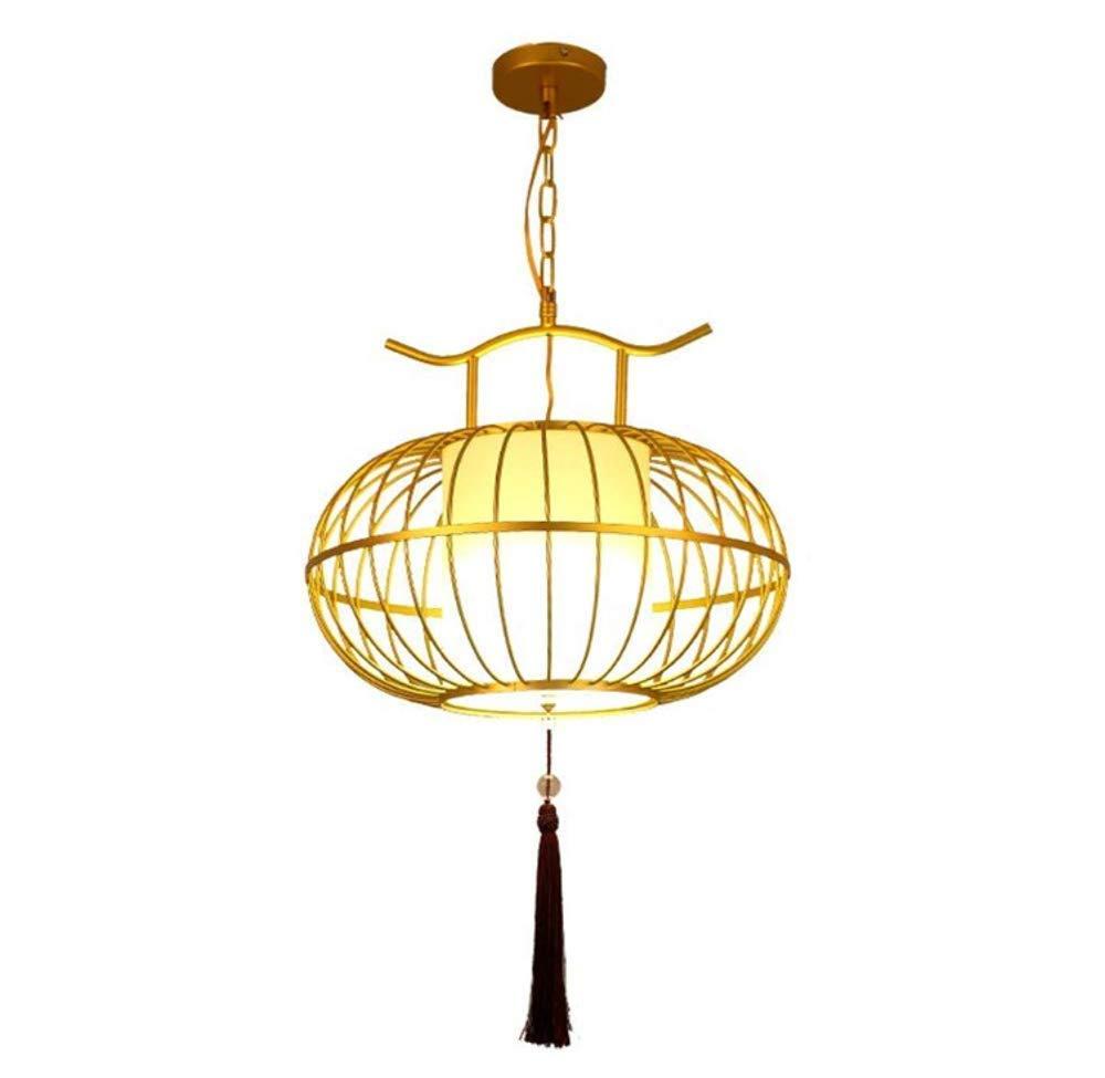 Lámpara de techo lámpara de jaula de pájaros de oro con borla ...