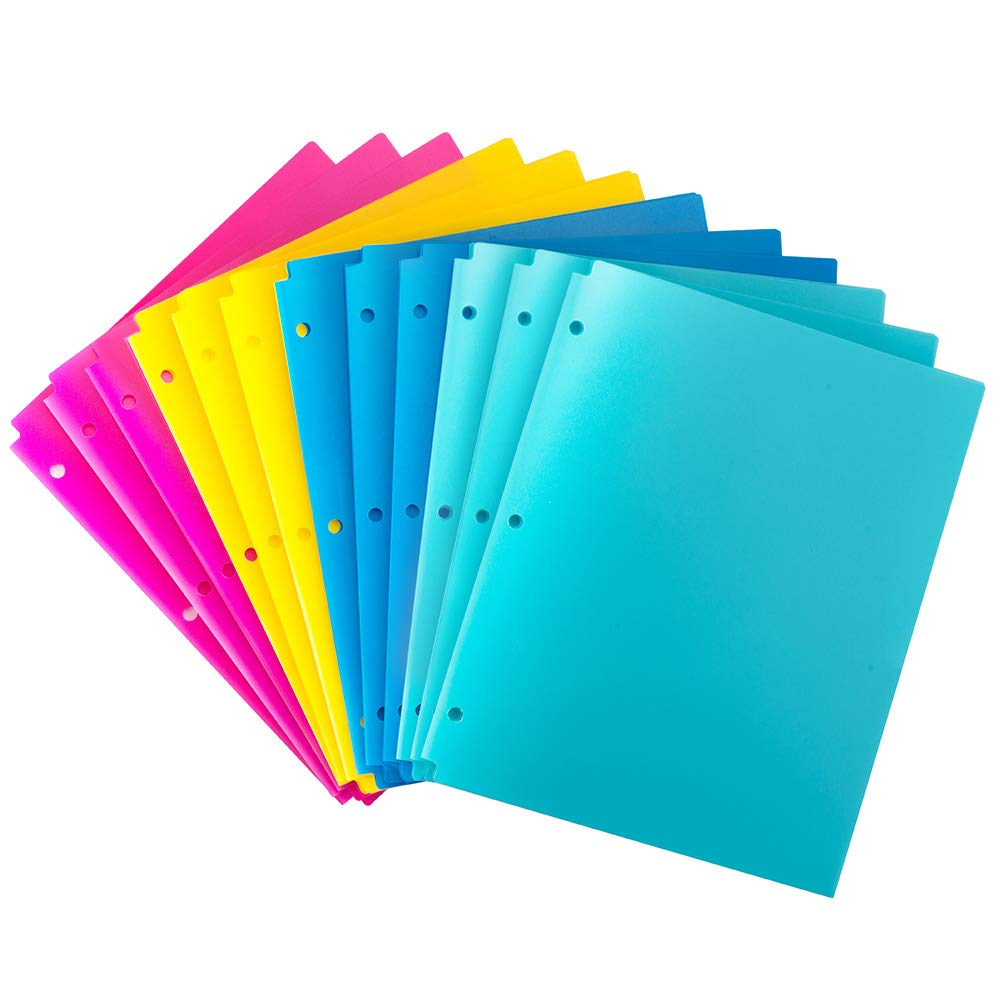 MAKHISTORY Plastic 2 Pocket Folders with 3 Holes Punched - 12 Pack, for 3 Ring Binder, Keeps Letter Size Paper, Bright Colors by MAKHISTORY