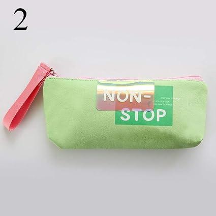 Estuches Cartas Kawaii verdes Estuche de lápices Colores del caramelo Glitter láser Estuche de lápices Bolso de lápiz de lona para niños Niñas Regalos Escuela Papelería coreana: Amazon.es: Oficina y papelería