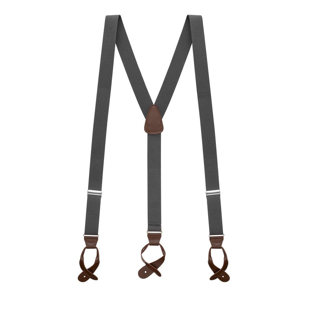 Suspender Store Mens 1.25 In Wide Button Suspenders - DARK GREY with Brown Leather