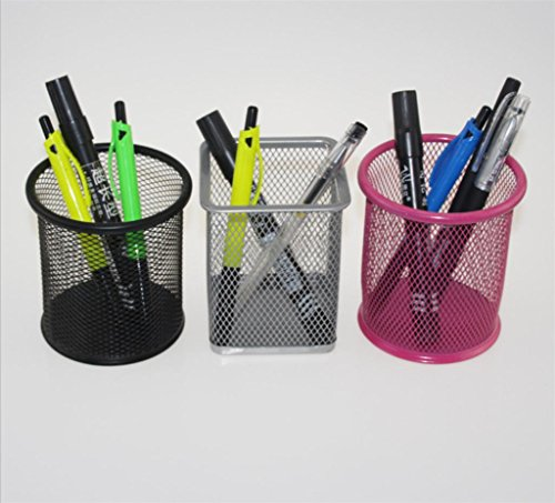 WWZY Storage Box Metal Practical Creative Fashion Square Circular Mesh Office stationery Desktop Storage Pen holder Random color (pack of 12) (Ribbed Rubber Grip Pen)