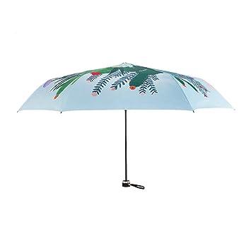 WJCGX Ilustración Creativa Cactus Impresión Plegable Paraguas De Luz Llevando Con Paraguas De Protección Solar Al