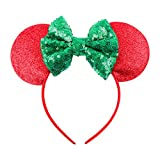 Cute Mickey Mouse Ears Headband Hoop Hair Accessories Headdress Hair Accessories for Party Festivals (Red Green)