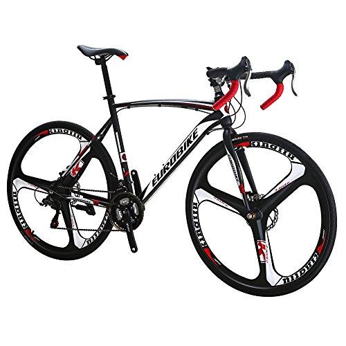 Eurobike EURXC550 21 Speed Disc Brake Road Bike 54 cm Frame K Wheels Road Bicycle Dual Blackwhite