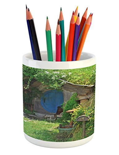 Ambesonne Hobbits Pencil Pen Holder, Fantasy Hobbit Land House in Magical Overhill Woods Movie Scene New Zealand, Printed Ceramic Pencil Pen Holder for Desk Office Accessory, Green Brown Blue by Ambesonne