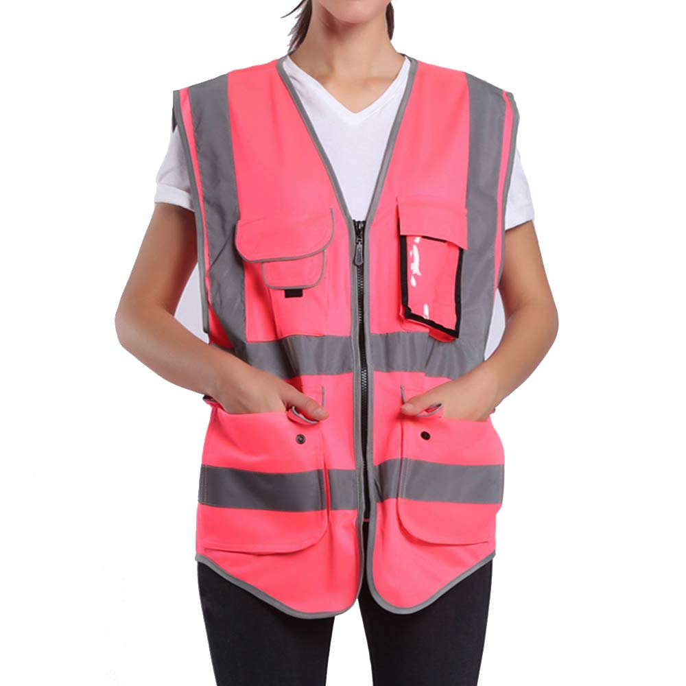 Large Pink Safety Vest For Women | Hi Vis Vest With Reflective Stripes| Surveyor Reflective Vest With Pockets And Zipper (L, Pink)