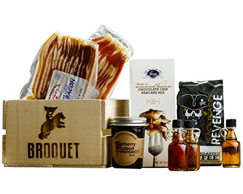 Manly Breakfast Essentials Gift Crate – Bacon & Pancakes & Artisan Coffee & Maple Syrup Sampler - Comes in a Wooden Gift Crate - Birthday Gift - Great Gift For Men
