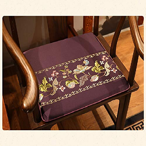 JYTT Classical Vivid Delicate Sofa Seat Pad Dining Chair Redwood Padded Cushion Bench Chinese Stylered Sponge Cotton Breathable Embroidered Couch Chair Pads Fancy Collection-g 45x38x3cm (Chair Pads Embroidered)