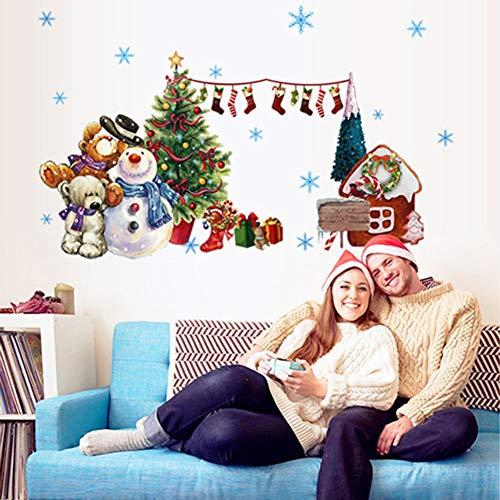 - Brave669 [Christmas Decoration]-Merry Christmas Santa Snowman Tree Wall Sticker Home Display Window Decal Decor,Christmas Lights