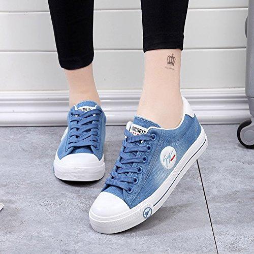 KPHY Mujeres Banda Baja Zapatos De Lona Estudiantes Zapatos Casuales Zapatos De Fondo Plano Junta Solo Los Zapatos. blue