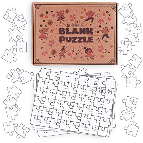 aGreatLife Blank Jigsaw Puzzles: Make and Color Your Own Puzzle - Perfect Art Toy for Kids and DIY Puzzle Activity Kit for All - with 8 Puzzles per Box and -