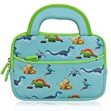 7 - 8 inch Kid Tablet Sleeve, Evecase Cute Dinosaurs Themed Neoprene Carrying Sleeve Case Bag For 7 - 8-inch Kid Tablets (Blue & Green Trim, With Dual Handle and Accessory Pocket)