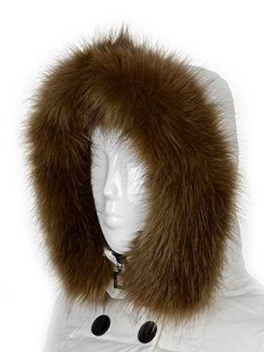 Brown Hood - Futrzane Trim Hood Faux Fake Fur Hood Winter for Jacket Ski Collar Wrap Shawl (M, Light Brown)