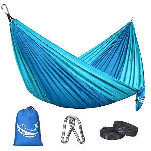JBM Camping Hammock Single & Double Portable Lightweight Parachute Hammock Outdoor Hiking Travel Backpacking - Nylon Hammock Swing - Support 400lbs with Nylon Ropes (Dark Bule & Baby Blue)