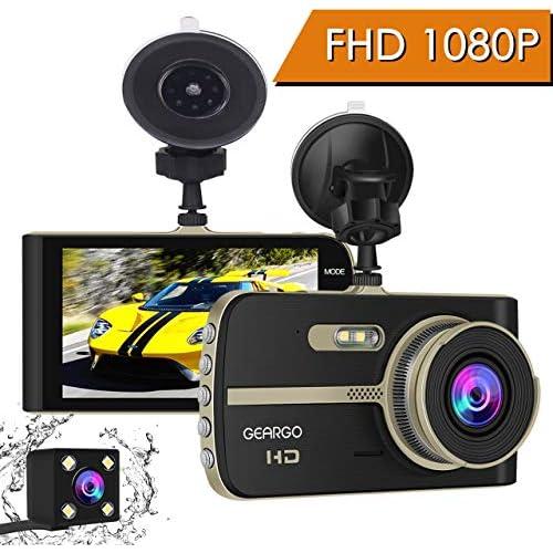 Cámara de Coche GEARGO Dashcam Full HD 1080P Dual Lens Cámara para Coche G Sensor Detección de Movimiento Grabación en Bucle con Visión Noctura WDR 4 LCD Pantalla
