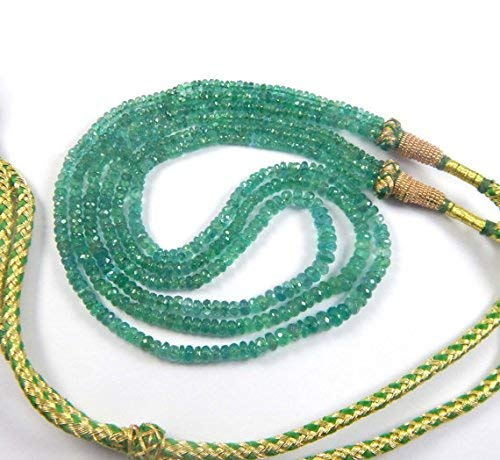 (Super Fine Quality Natural Faceted Emerald Rondelle Beads Necklce 18'' Size 3-5mm by LadoNarayani)