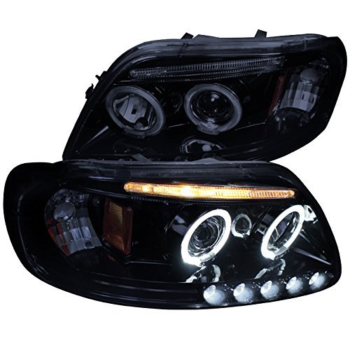 (Spec-D Tuning 2LHP-F15097G-TM Black Projector Headlight (Halo Gloss Housing Smoke Lens))
