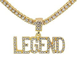 Yellow Gold Tone Crystal Letter Pendant Chain