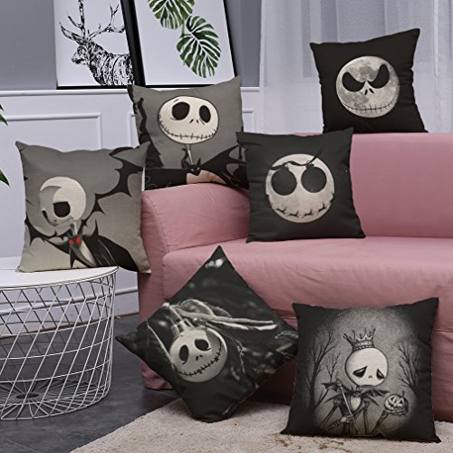 (Nightmare Before Christmas Horror Skull Throw Pillow Covers 6 Pack Home Decor Cotton Linen Sofa Throw Pillow Case Cushion Cover 18 x 18 Inch Home Office Sofa Square Pillow Case)