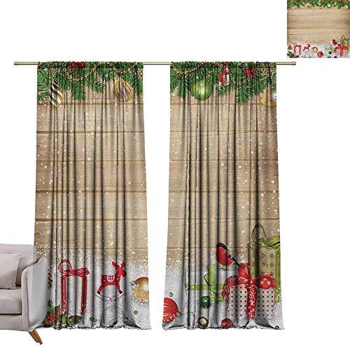 berrly Grommet Window Treatment Set Christmas,Pine Branches Ornaments on Wooden Planks Snow Presents Vintage Composition Print, Multicolor W84 x L84 Curtains