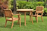 Cheap Grade-A Teak Wood 2 Seater 3 Pc Dining Set: 36″ Round Table and 2 Stacking Arbor Arm Chairs #WFDSAB1