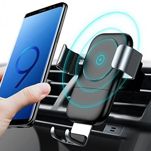 Charger Mount, Auto-clamping Qi Fast Charging Wireless Charger Car Air Vent Cell Phone Holder Cradle for Samsung Galaxy S9/S9+ Plus/S8/S8+, iPhone X/8/8 Plus and More (Serrated Edge Auto)