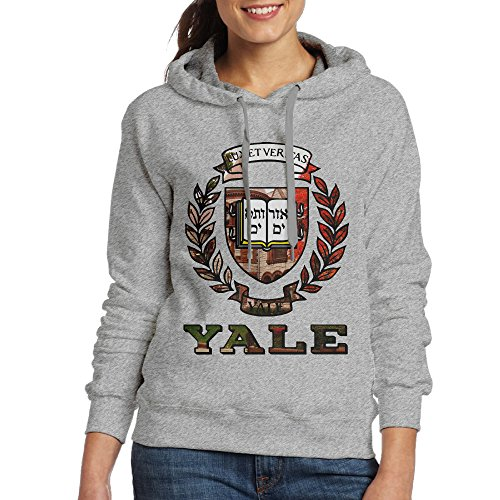 FUOALF Women's Pullover Yale University Hooded Sweatshirt Ash L