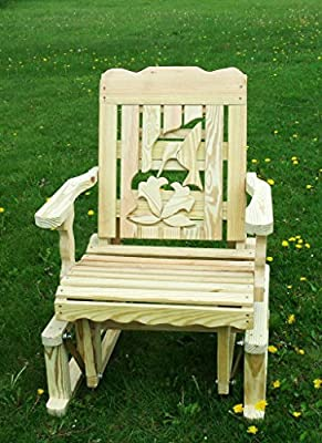 Pressure Treated Pine Designs Unfinished Outdoor Hummingbird Cutout Glider Chair