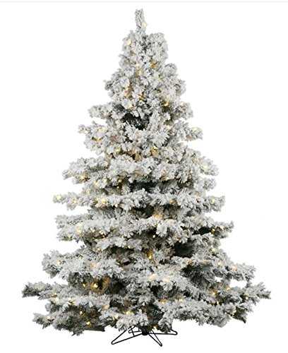 AMERIQUE Premium Magnificent Hinged Artificial Snowy Pine Christmas Tree With Metal Stand, Flocked Snow, Unlit (Flocked Christmas Trees)