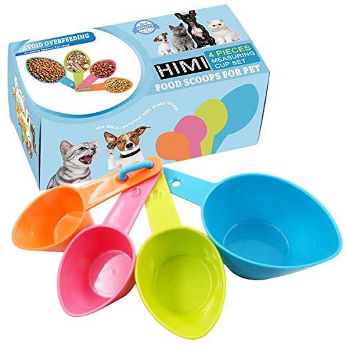 HINMAY Pet Food Scoops Plastic Measuring Cups Set for Dog Cat and Bird Food (Random Color)
