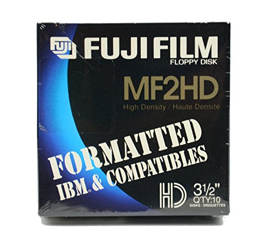 Fuji Film MF2HD High Density 3.5 Inch Floppy Disks FORMATED IBM & COMPATIBLES - 10 Pack by Fuji