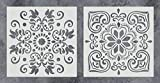 tile floor patterns GSS Designs Pack of 2 Stencils Set (12x12 Inch) Painting for Wood Wall Furniture Floor Tiles Fabric Template - Reusable Art Painting Stencils(SL-010)