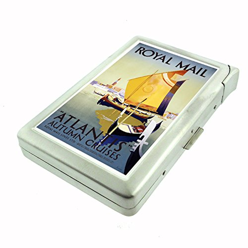 Perfection In Style Metal Cigarette Case with Built In Lighter Vintage Travel Posters Design 009