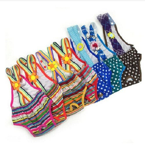 UDTEE 2PCS Colorful/Comfortable/Cosy Pet Dog Cotton Tighten Strap Sanitary Physiological Pants Pet Underwear Diapers