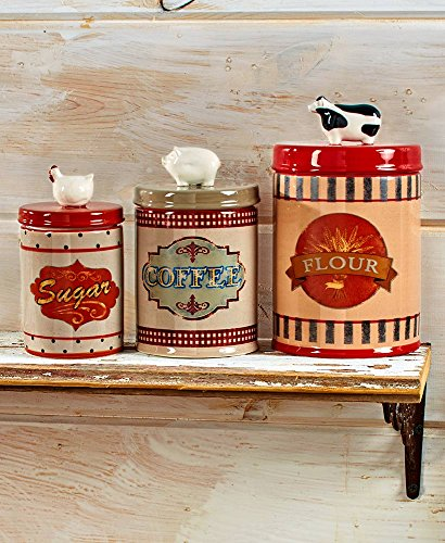 Farm-to-Table Kitchen Accents - A Taste of Countryside Living - Your Home's Country Theme - Multiple Colors Available (Set of 3 Canisters) ()