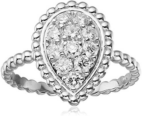 14k Diamond Leaf Ring (0.75 Cttw H-I Color, I1 Clarity)