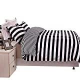 Black and White Duvet Set NTBAY 3 Pieces Duvet Cover Set Black and White Stripe Printed Microfiber Reversible Design(Full/Queen, Stripe)