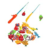 #6: Rely2016 20Pcs Fish and 2pcs Fishing Rod Parent-Child Interation Magnetic Magnet Fishing Playset Kid Children Eearly Educational Toy