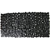"30""x15"" Large Bathtub Safety Mat, Non-Slip Suction Cups, Black Shower Bathroom Floor Pad, Hygienic Antibacterial BPA-free Durable PVC Rubber, Comfortable Touch, Beach Pebble Design, Modern House Decor"