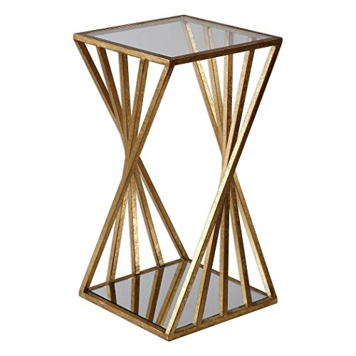 Gold Angle Geometric Square Accent Table | Open Pedestal Column Modern Review