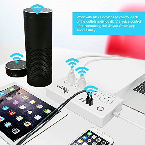 Smart Power Strip Works with Alexa and Google Home, SMARTYFI USB Power Strip and Smart Surge Protector, No Hub Required, Smart Life App, Multi Outlet Wifi Surge Protector with 4 AC and 4 USB Ports by SMARTYFI (Image #6)