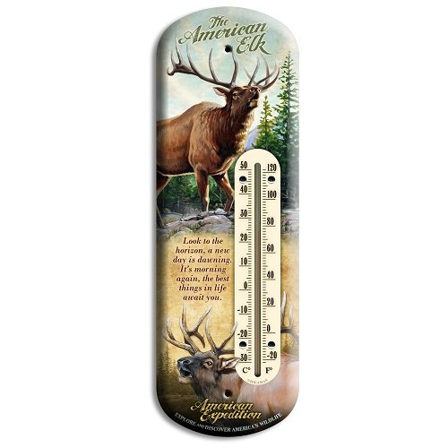 American Expedition Elk Tin Back Porch Thermometer by American Expedition