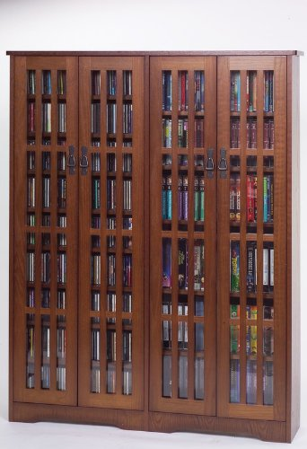 Leslie Dame M-954W High-Capacity Inlaid Glass Mission Style Multimedia Storage Cabinet, Walnut