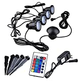 GEEDIAR 4Pcs RGB 36 LED Submersible Spot Light Underwater Colorful Landscape Lamp Outdoor IP65 Decorative Lamp with IR Remote Control for Aquarium Fish Tank Garden Fountain Pond Pool Wall Yard Path