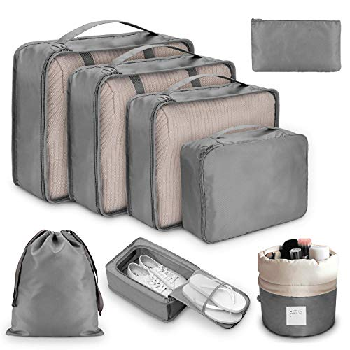 DIMJ Packing Cubes for Travel, 8Pcs Compression Travel Cubes Set Foldable Suitcase Organizer Lightweight Luggage Storage Bag (Gray)