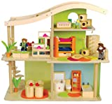 Hape Bamboo Sunshine Dollhouse - Fully Furnished