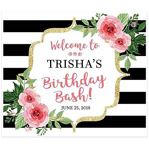 Black and White Striped Floral Banner Welcome to my Party Backdrop Decoration