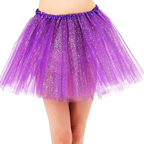 YoungLove Women's Classic 3 Layered Tulle Sparkling Sequin Tutu Skirt, Dark Purple